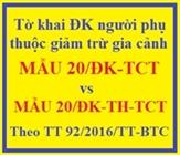 Mẫu tờ khai đăng ký người phụ thuộc giảm trừ gia cảnh mới nhất - Mẫu 20-ĐK-TCT